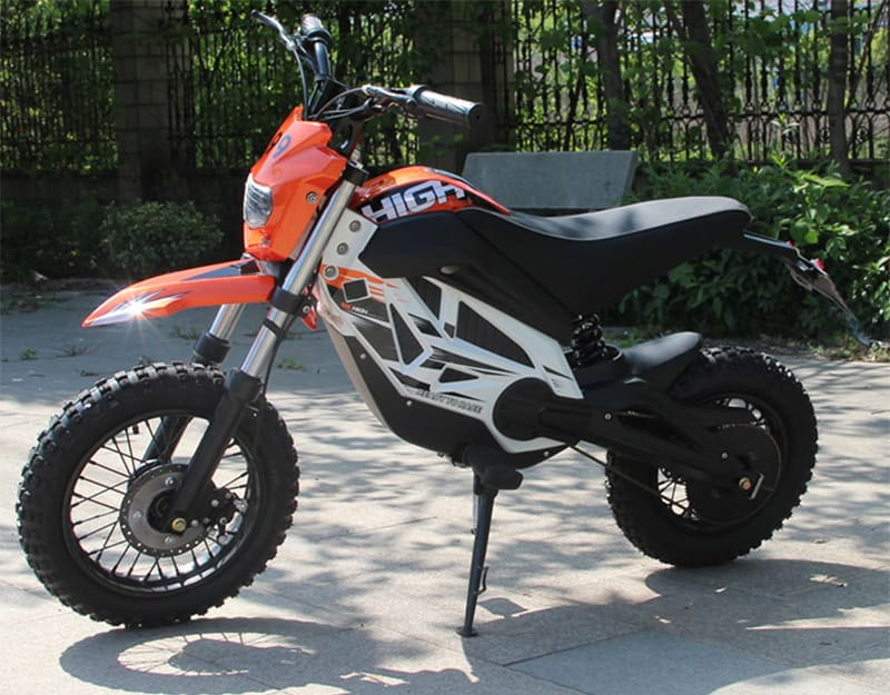 Кроссовый электромотоцикл Electrowin EMB-188, оранжевый. Вид сбоку