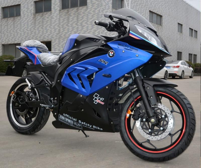 Электромотоцикл Electrowin EM-BM, сине-черный. Правый полупрофиль