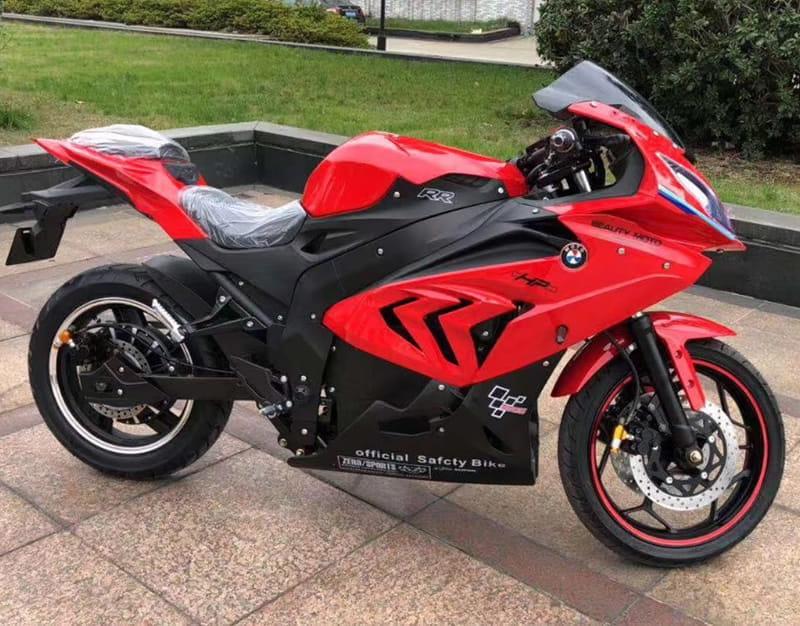 Электромотоцикл Electrowin EM-BM, красный. Вид справа
