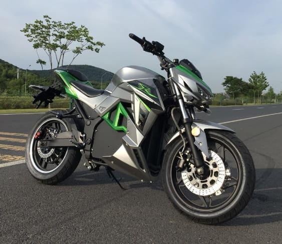Электромотоцикл Electrowin EM-130, серо-зеленый, вид справа