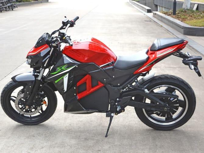 Электромотоцикл Electrowin EM-130, красный, вид слева