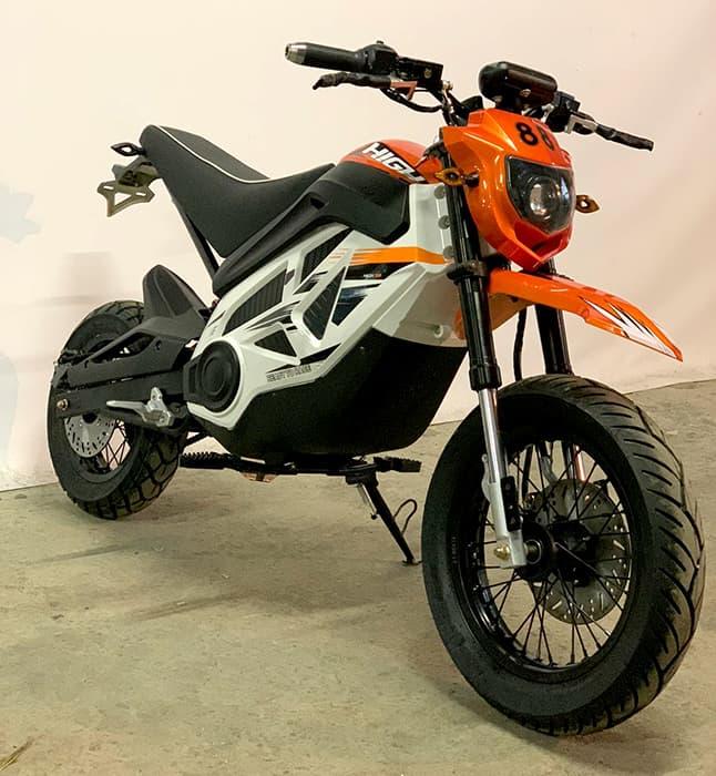 Оранжевый кроссовый электромотоцикл Electrowin EMB-188