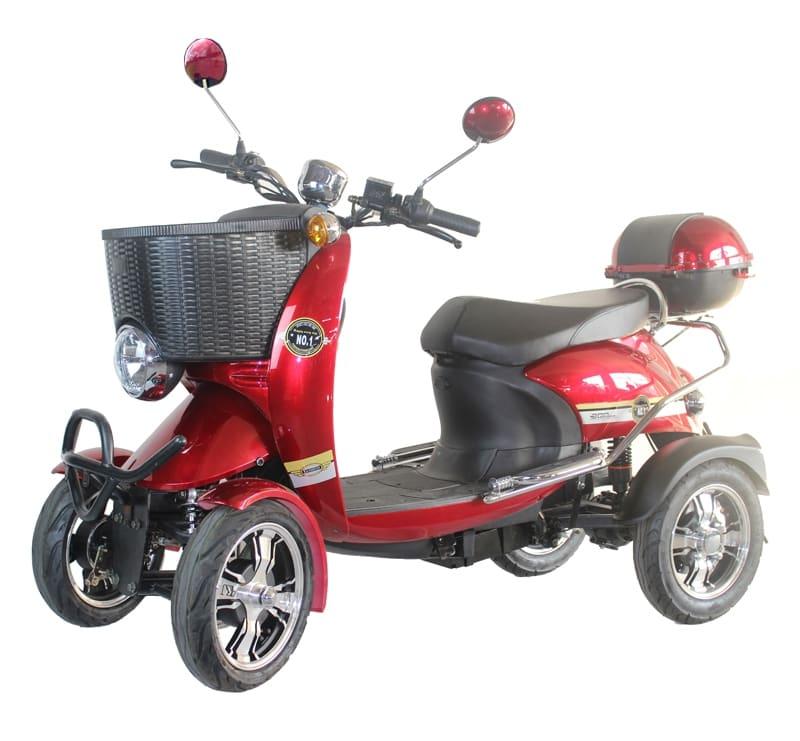 Купить красный четырехколесный электроскутер Electrowin ES-135