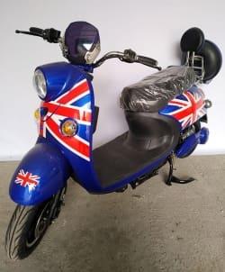 Электрический скутер Electrowin EM-2160, цвета британского флага, вид спереди под углом