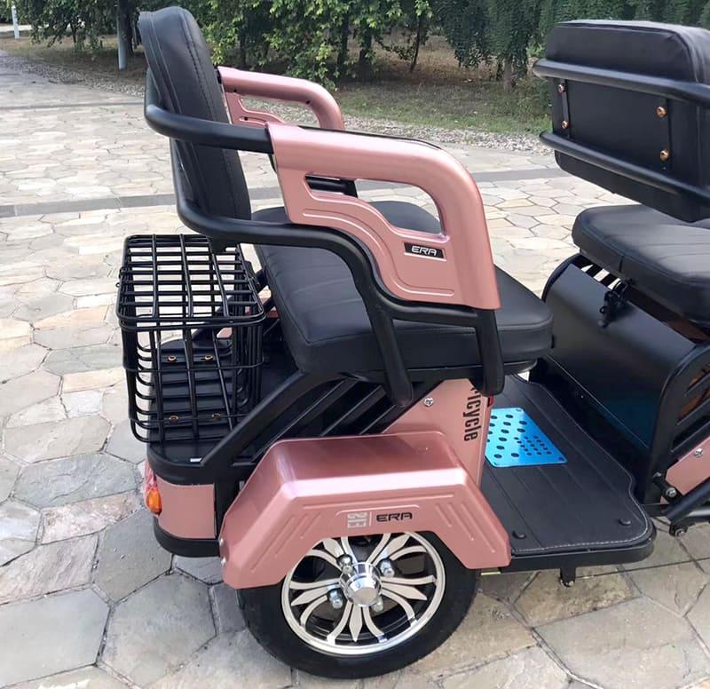 Electrowin TES-121, розовый, заднее кресло с багажником и заднее колесо